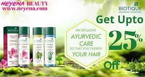 Get up 25% Ayurveda Face care discount on brand Biotique in Neyena Beauty & Cosmetics discount coupon offer deals