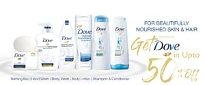 Get up 50% Face care discount on brand Dove Hair Care in Neyena Beauty & Cosmetics discount coupon offer deals