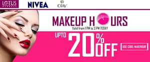 Makeup Hours on Neyena Beauty & Cosmetics with brands Lotus, Nivea Olay discount coupon offer deals