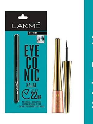 Lakme eyeconic kajal and 9 to 5 impact eyeliner monsoon offer combo sale on neyen beauty and neyena cosmetics, monsoon offer monsoon discount monsoon deals